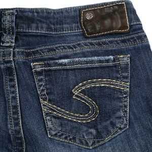 Silver Tuesday Distressed Dark Wash Boot Cut Jeans